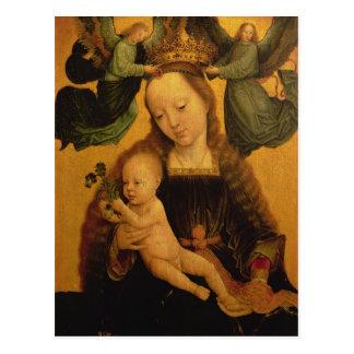 Madonna und Kind krönten durch zwei Engel, c.1520 Postkarte