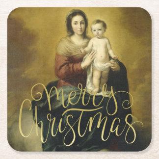 Madonna und Kind, Kunst-Weihnachten Rechteckiger Pappuntersetzer
