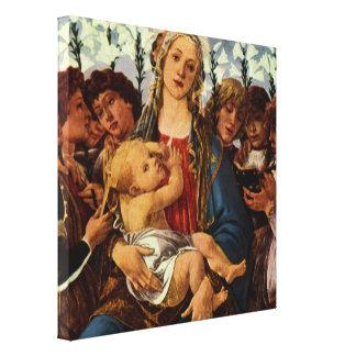 Madonna und Kind mit acht Engeln durch Botticelli Leinwanddruck