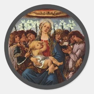 Madonna und Kind mit acht Engeln durch Botticelli Runder Aufkleber