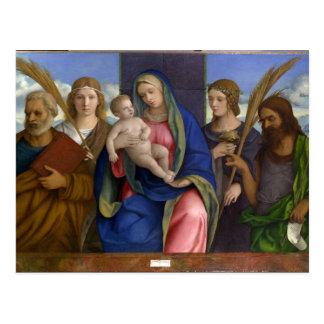 Madonna und Kind mit Heiligen Postkarte