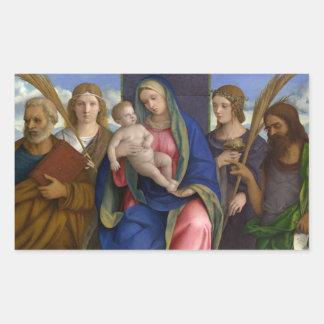 Madonna und Kind mit Heiligen Rechteckiger Aufkleber