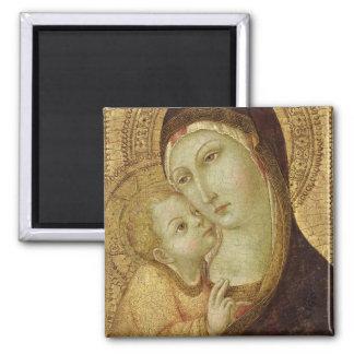 Madonna und Kind Quadratischer Magnet