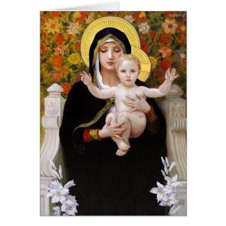 Madonna und Kind + Weiße Lilien Karte
