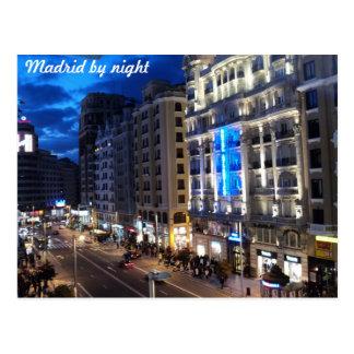 Madrid bis zum Nacht Postkarte