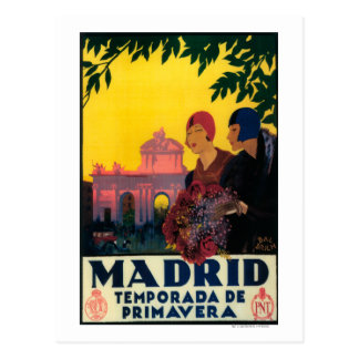 Madrid im Frühjahr-Reise-fördernden Plakat Postkarten