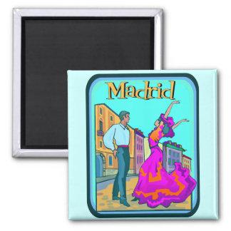 Madrid-Reise-Plakat Quadratischer Magnet