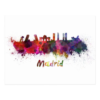 Madrid skyline im Watercolor Postkarte