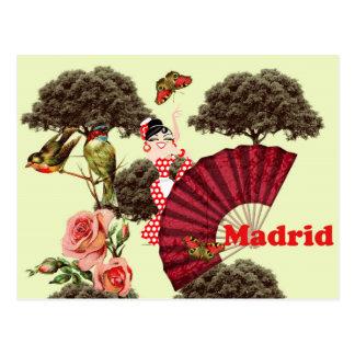 Madrid Spanien flämisch Vögelchen und Rosen Postkarte