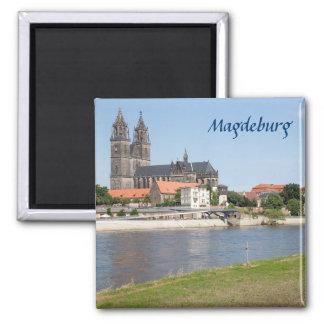 Magdeburg-Ansicht-Foto Quadratischer Magnet
