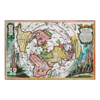 Magellan Reise-flache Erdkarte Poster
