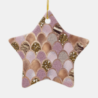 Magentarote Meerjungfrauskalen - Rosengold der Keramik Ornament