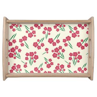 Magentaroter Blasen-Blumen-Rosa-Blumen-Frühling Tablett