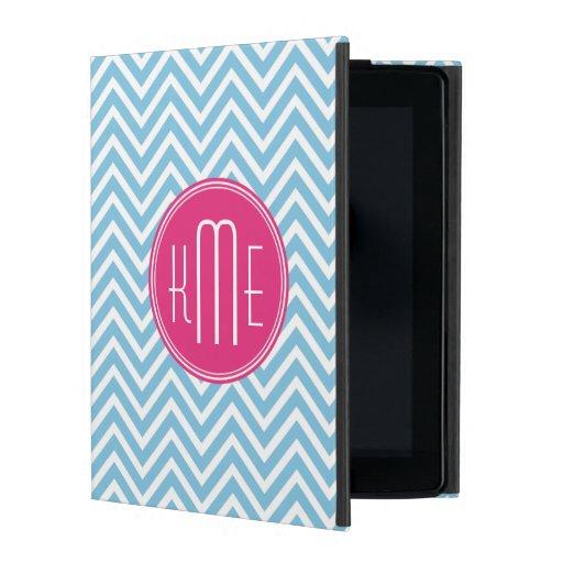 Magentarotes rosa Monogramm mit hellblauem Schutzhülle Fürs iPad