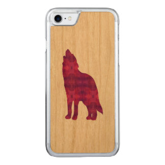 Magentarotes Wolf IPhone Holzetui Carved iPhone 8/7 Hülle