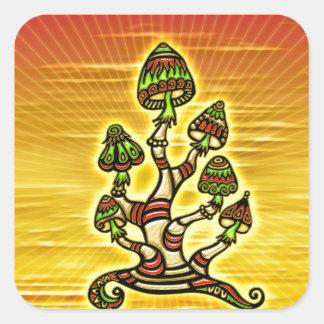 Magic Mushrooms - Zauber Pilze Quadratischer Aufkleber