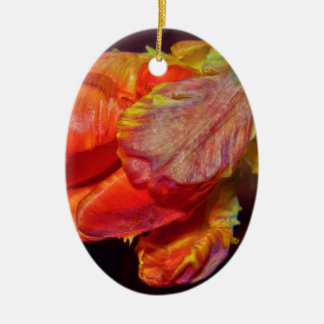Magic Red Tulip Ovales Keramik Ornament