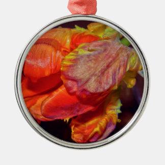 Magic Red Tulip Rundes Silberfarbenes Ornament