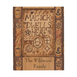 Magick bleibt hier Pentagramm Triquetra Triskele Holzdruck