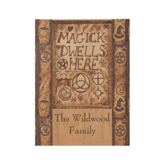 Magick bleibt hier Pentagramm Triquetra Triskele Holzposter