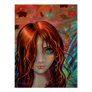 Magie Herbst-Fantasie-feenhafter Kunst 12 x 16 Poster