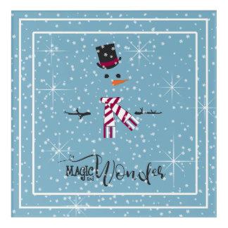 Magie-und Wunder-WeihnachtsSchneemann blaues ID440 Acryldruck