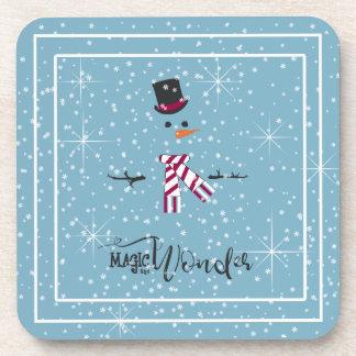 Magie-und Wunder-WeihnachtsSchneemann blaues ID440 Getränkeuntersetzer