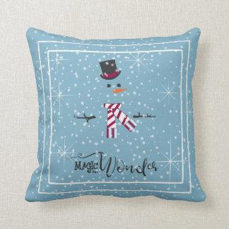 Magie-und Wunder-WeihnachtsSchneemann blaues ID440 Kissen