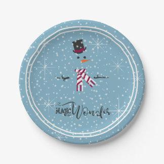 Magie-und Wunder-WeihnachtsSchneemann blaues ID440 Pappteller