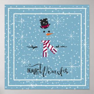 Magie-und Wunder-WeihnachtsSchneemann blaues ID440 Poster