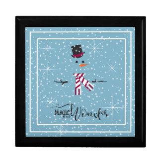 Magie-und Wunder-WeihnachtsSchneemann blaues ID440 Schmuckschachtel