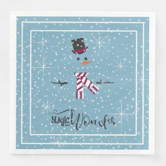 Magie-und Wunder-WeihnachtsSchneemann blaues ID440 Serviette