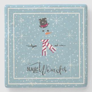 Magie-und Wunder-WeihnachtsSchneemann blaues ID440 Steinuntersetzer