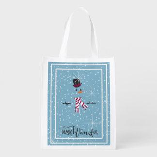 Magie-und Wunder-WeihnachtsSchneemann blaues ID440 Wiederverwendbare Einkaufstasche