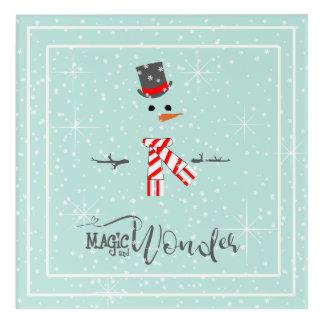 Magie-und Wunder-WeihnachtsSchneemann-Minze ID440 Acryl Wandkunst