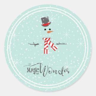 Magie-und Wunder-WeihnachtsSchneemann-Minze ID440 Runder Aufkleber