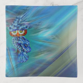 Magische blaue Gefieder-Mode-Eule Dekoschale