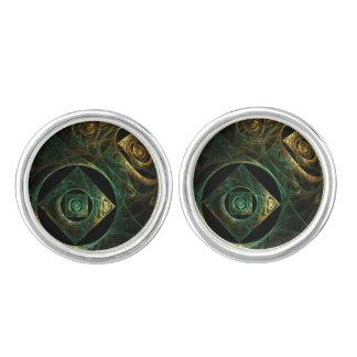 Magische Erschütterungs-abstraktes Kunst-Silber Manschettenknöpfe