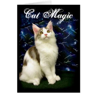 Magische Halloween-Katzengrußkarte Karte