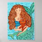 Magische Meerjungfrau mit Katzen-Volkskunst Poster