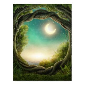 Magische Mond-Baum-Postkarte Postkarte