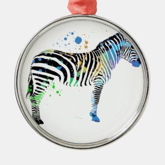 Magische multi farbige Zebra-Sprühfarbeart Silbernes Ornament