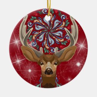 Magische niedliche Waldrotwild mit blühen Keramik Ornament