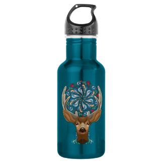 Magische niedliche Waldrotwild mit blühen Trinkflasche