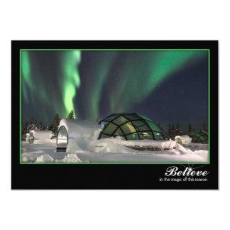 Magische Nordlicht-Weihnachtskarte Karte