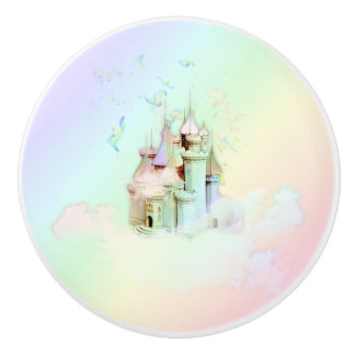 Magische Regenbogen-Schloss-Prinzessin Fairytale Keramikknauf