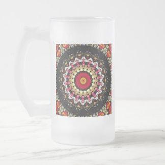 Magische schwarze und rote Mandala Mattglas Bierglas
