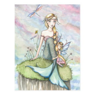 Magische Täuschungs-Meerjungfrau und Fee-Postkarte Postkarte