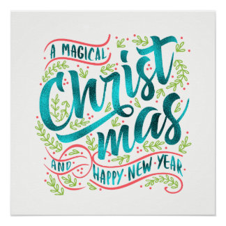 Magische Weihnachtstypographie aquamarines ID441 Poster
