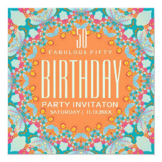 Magischer Böhme-50. Geburtstags-Einladungen Karte